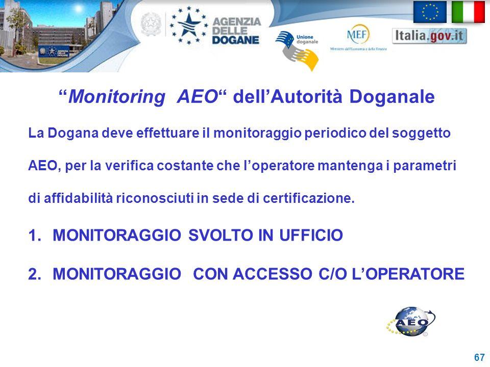 Monitoring AEO dellAutorità Doganale 67 La Dogana deve effettuare il monitoraggio periodico del soggetto AEO, per la verifica costante che loperatore