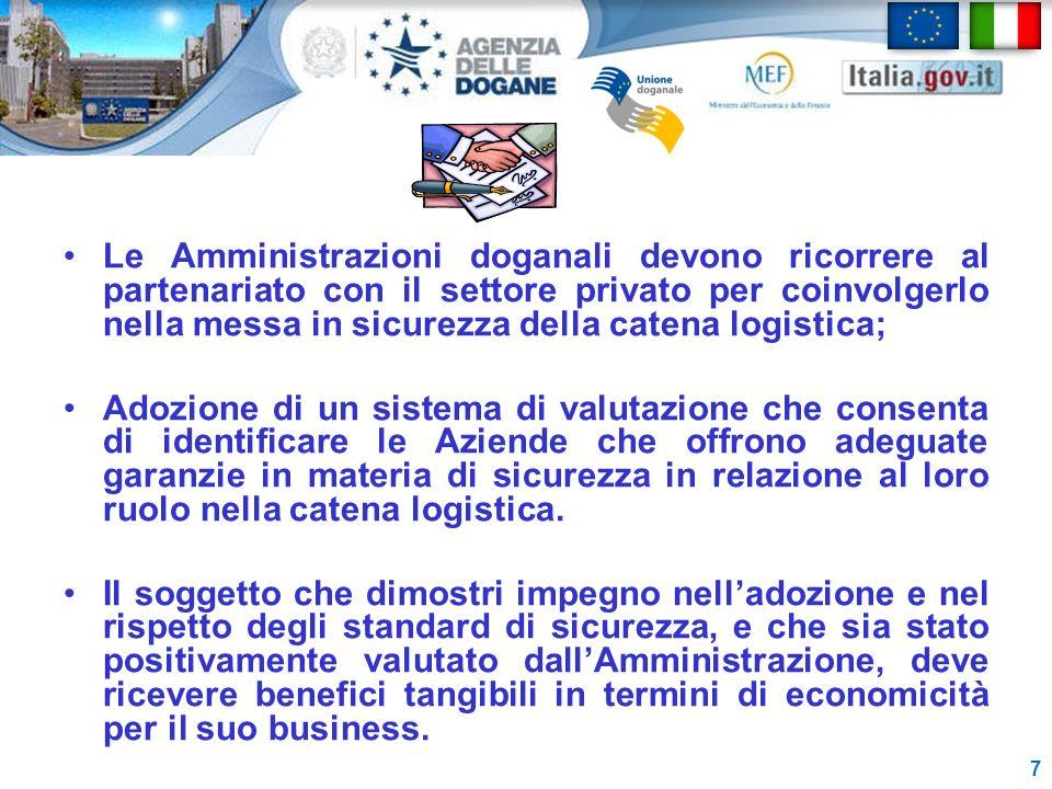 Le Amministrazioni doganali devono ricorrere al partenariato con il settore privato per coinvolgerlo nella messa in sicurezza della catena logistica;