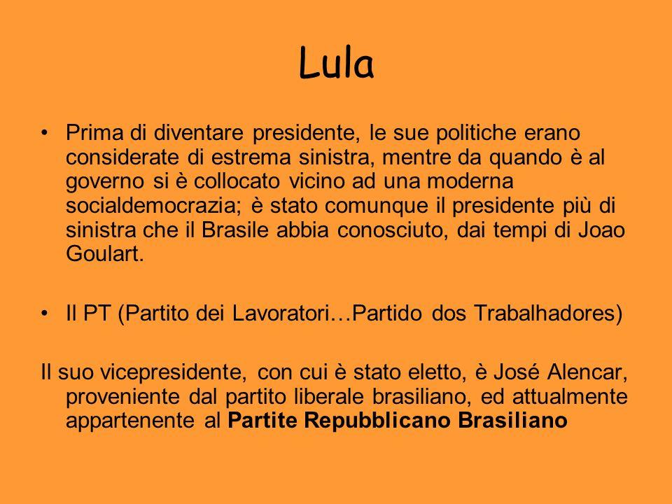 Lula Prima di diventare presidente, le sue politiche erano considerate di estrema sinistra, mentre da quando è al governo si è collocato vicino ad una moderna socialdemocrazia; è stato comunque il presidente più di sinistra che il Brasile abbia conosciuto, dai tempi di Joao Goulart.