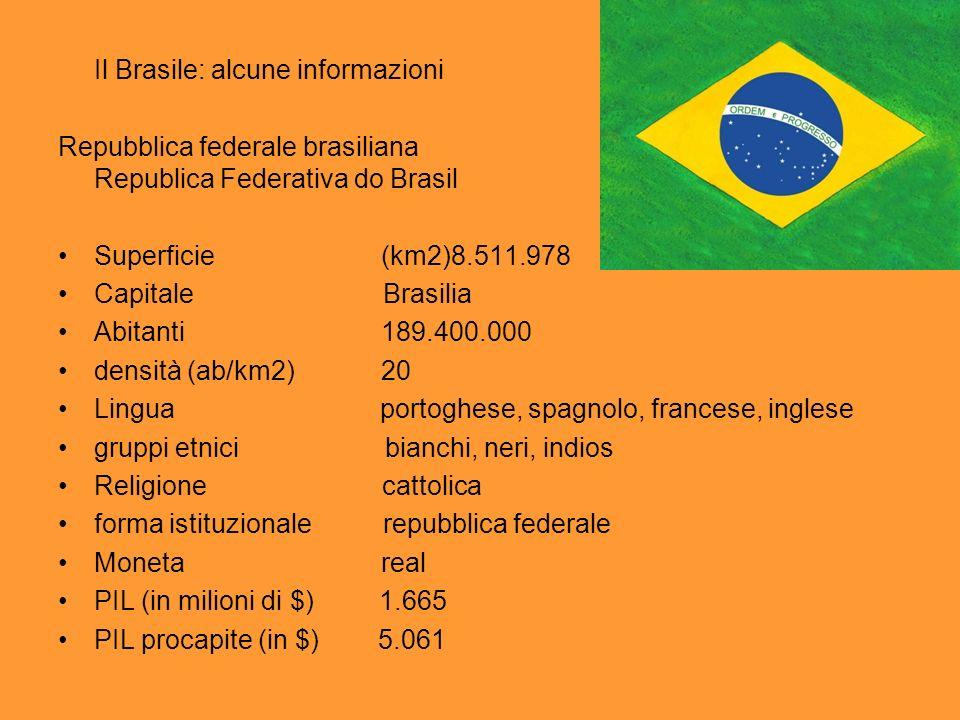 Il Brasile: alcune informazioni Repubblica federale brasiliana Republica Federativa do Brasil Superficie (km2)8.511.978 Capitale Brasilia Abitanti 189.400.000 densità (ab/km2) 20 Lingua portoghese, spagnolo, francese, inglese gruppi etnici bianchi, neri, indios Religione cattolica forma istituzionale repubblica federale Moneta real PIL (in milioni di $) 1.665 PIL procapite (in $) 5.061