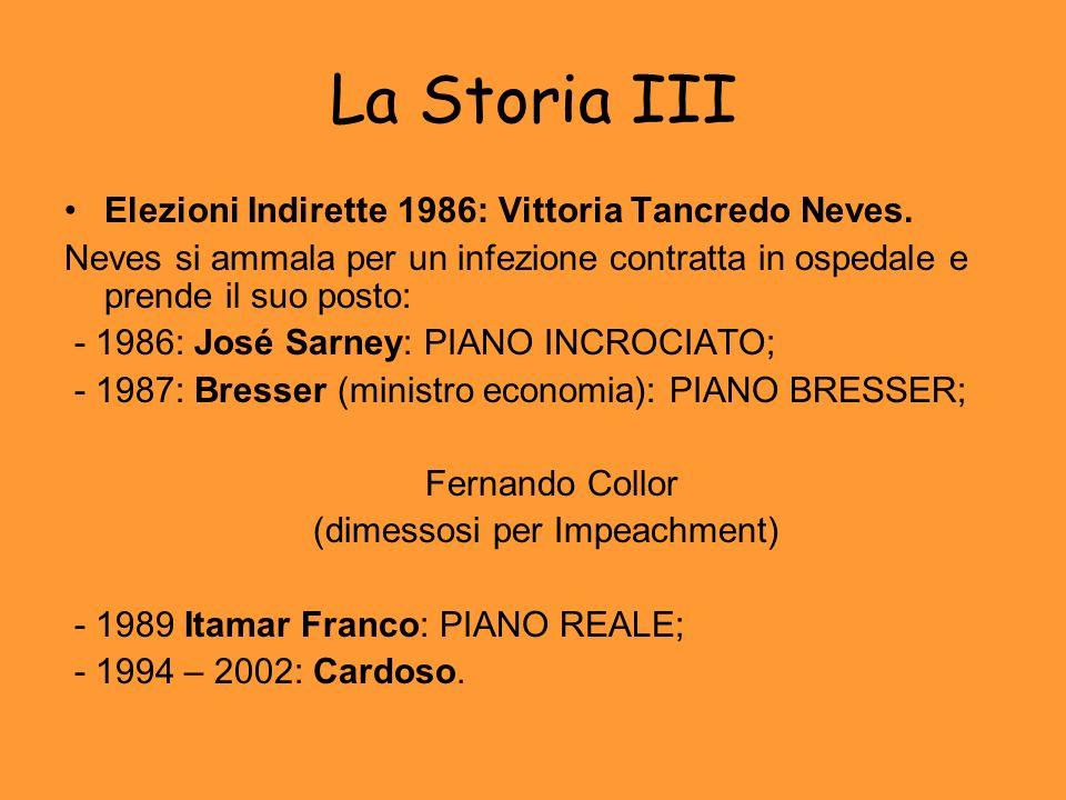 La Storia III Elezioni Indirette 1986: Vittoria Tancredo Neves.