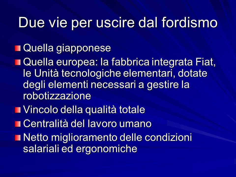 Due vie per uscire dal fordismo Quella giapponese Quella europea: la fabbrica integrata Fiat, le Unità tecnologiche elementari, dotate degli elementi