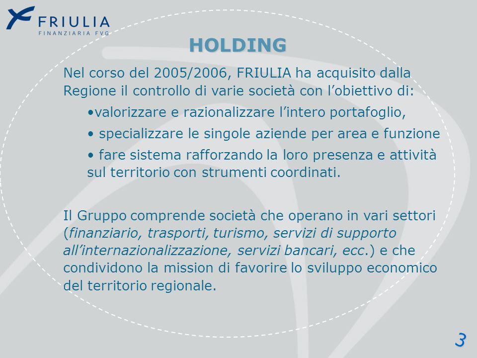 STRUTTURA DELLA HOLDING RegioneFVG Friulia spa BIC SVILUPPO ITALIA FINEST FRIULIA LIS INVESTIMENTI EQUITY AzionistiPrivati ALPE ADRIA AUTOVIE VENETE AEROPORTO FVG AGEMONTPROMOTUR Attività di private equity regionale e internazionale Sevizi alle imprese: promozione dellattività imprenditoriale nella regione (incubatore) Promozione e sviluppo di iniziative economiche dei territori montani Gestione dei cinque principali centri di turismo montano regionale Gestione sistemi integrati infrastrutturaliControllatePartecipazioni MEDIOCREDITO FVG Finanziamenti a medio termine leasing e garanzie 4
