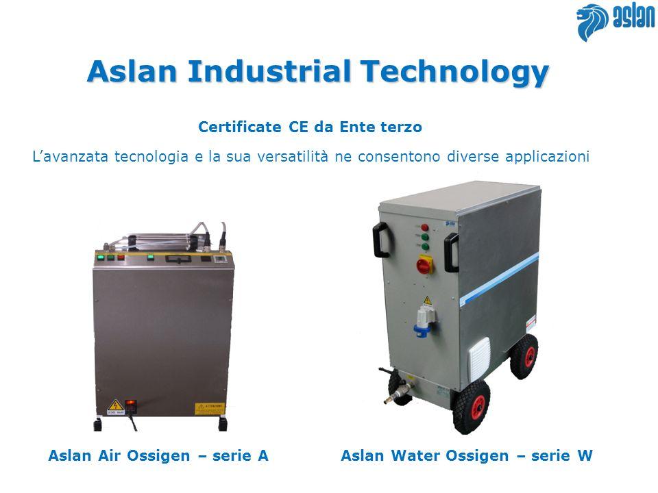 Certificate CE da Ente terzo Aslan Industrial Technology Aslan Water Ossigen – serie WAslan Air Ossigen – serie A Lavanzata tecnologia e la sua versatilità ne consentono diverse applicazioni