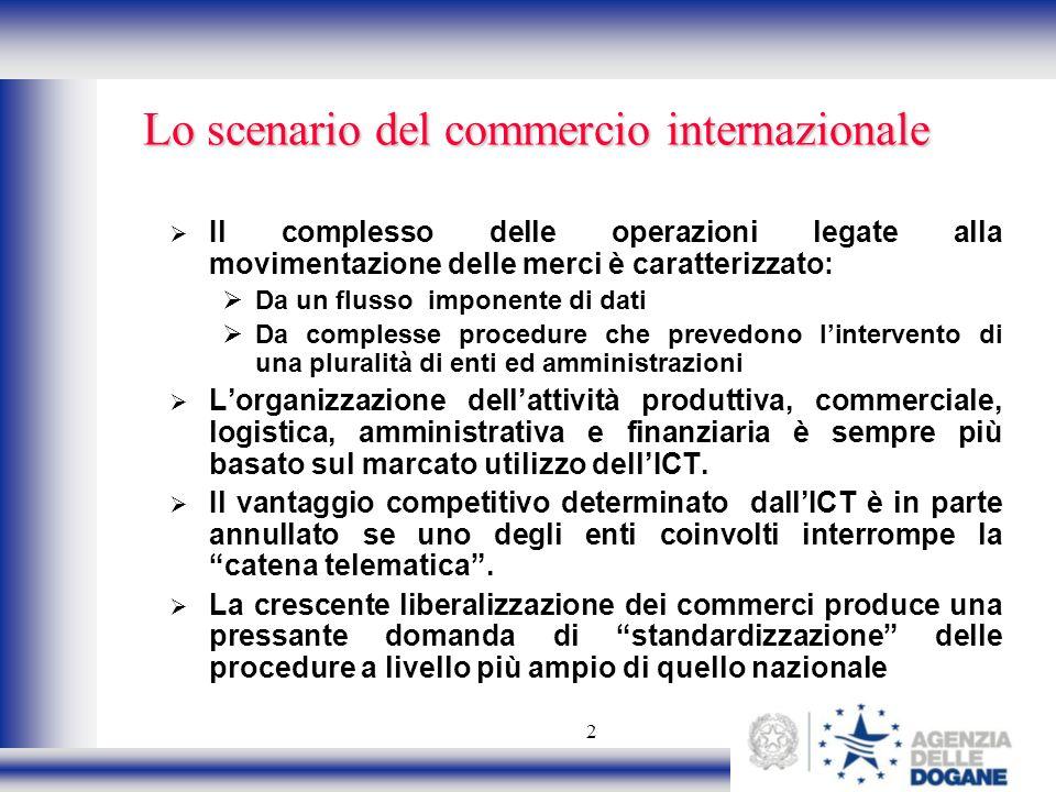 2 Lo scenario del commercio internazionale Il complesso delle operazioni legate alla movimentazione delle merci è caratterizzato: Da un flusso imponen