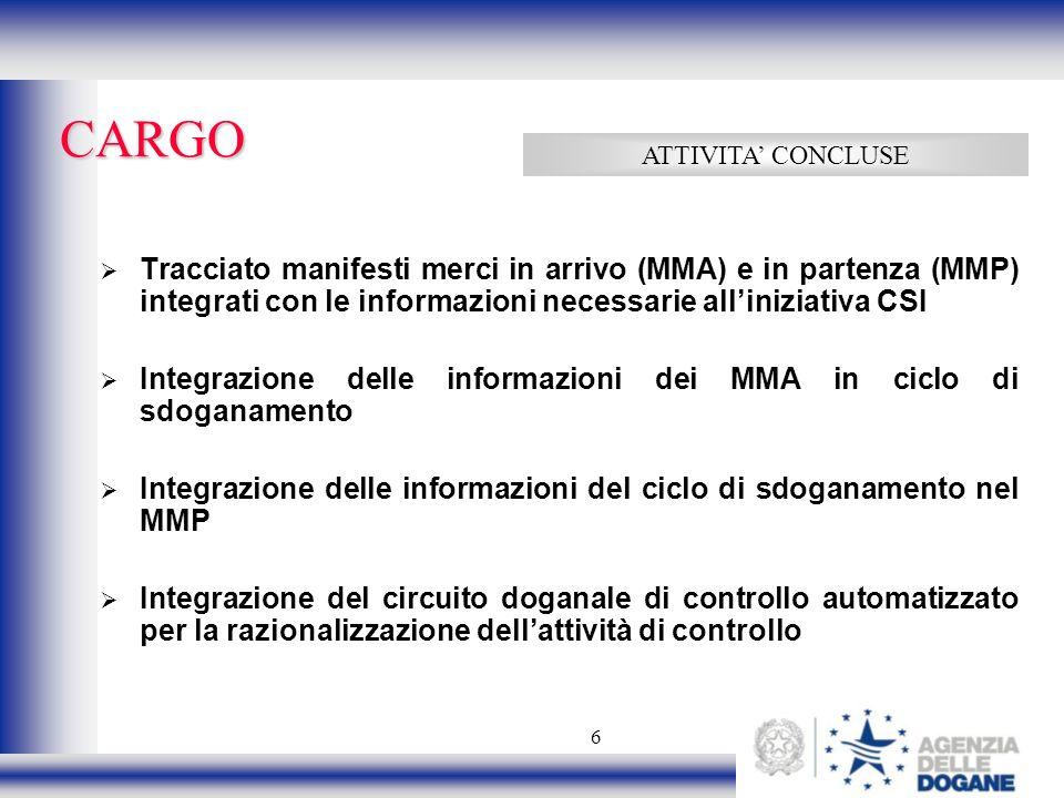 6 CARGO CARGO Tracciato manifesti merci in arrivo (MMA) e in partenza (MMP) integrati con le informazioni necessarie alliniziativa CSI Integrazione de