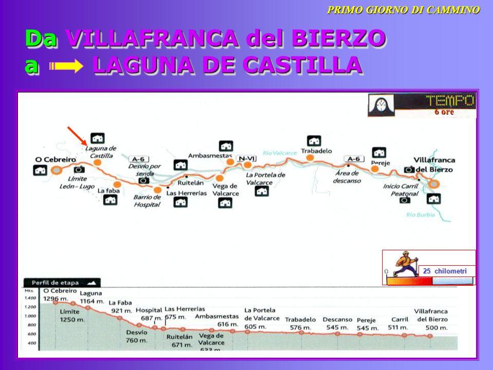 Da VILLAFRANCA del BIERZO a LAGUNA DE CASTILLA 25 chilometri 25 chilometri 6 ore PRIMO GIORNO DI CAMMINO