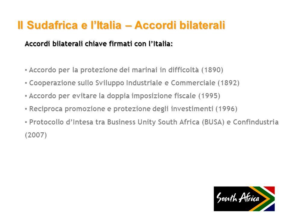 Il Sudafrica e lItalia – Accordi bilaterali Accordi bilaterali chiave firmati con lItalia: Accordo per la protezione dei marinai in difficoltà (1890)