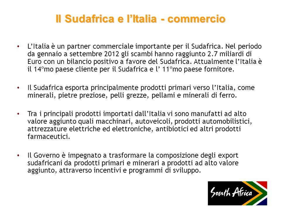 Il Sudafrica e lItalia - commercio LItalia è un partner commerciale importante per il Sudafrica. Nel periodo da gennaio a settembre 2012 gli scambi ha