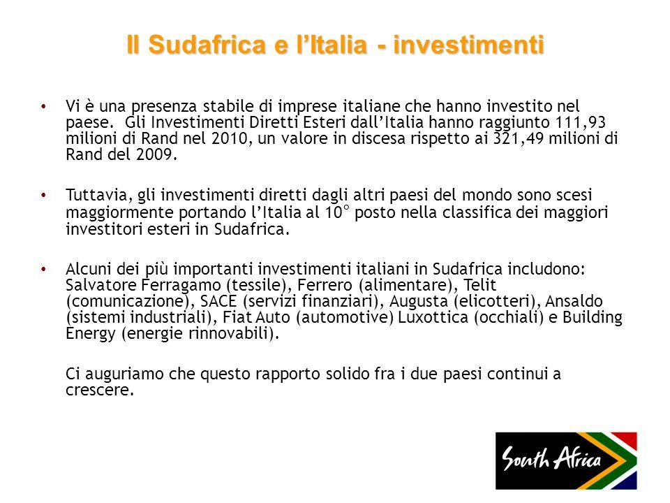 Il Sudafrica e lItalia - investimenti Vi è una presenza stabile di imprese italiane che hanno investito nel paese. Gli Investimenti Diretti Esteri dal