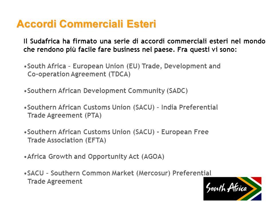 Accordi Commerciali Esteri Il Sudafrica ha firmato una serie di accordi commerciali esteri nel mondo che rendono più facile fare business nel paese. F