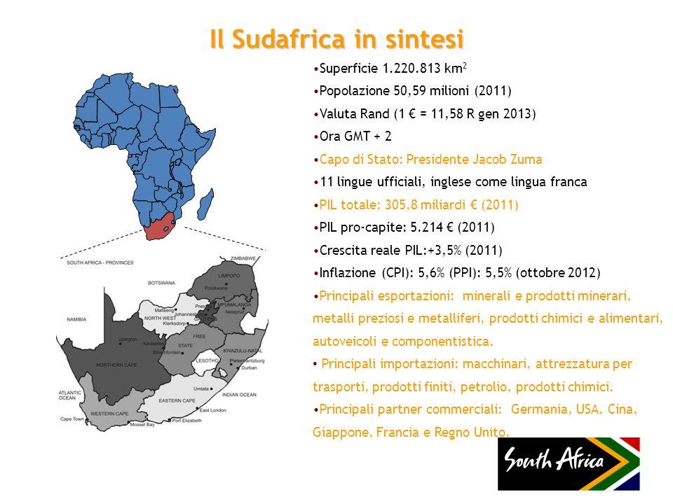 Il Sudafrica in sintesi Superficie 1.220.813 km 2 Popolazione 50,59 milioni (2011) Valuta Rand (1 = 11,58 R gen 2013) Ora GMT + 2 Capo di Stato: Presi