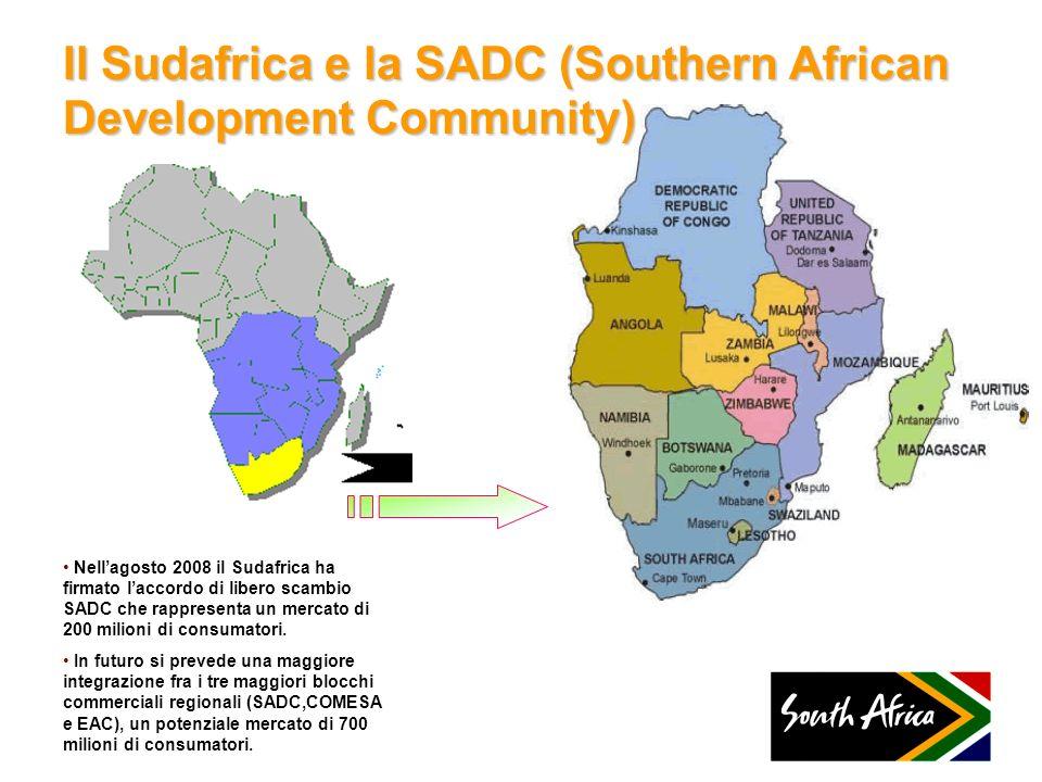 Il Sudafrica e la SADC (Southern African Development Community) Nellagosto 2008 il Sudafrica ha firmato laccordo di libero scambio SADC che rappresent