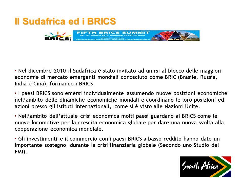 Il Sudafrica ed i BRICS Nel dicembre 2010 il Sudafrica è stato invitato ad unirsi al blocco delle maggiori economie di mercato emergenti mondiali cono
