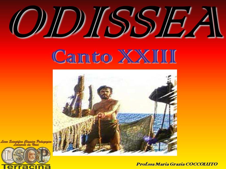 ODISSEA (canto XXIII) Il Canto XXIII dellOdissea, con cui gli antichi commentatori Aristofane ed Aristarco facevano terminare il poema al v.