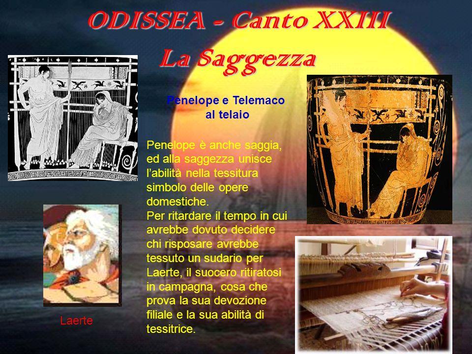 ODISSEA - Canto XXIII La Saggezza Penelope è anche saggia, ed alla saggezza unisce labilità nella tessitura simbolo delle opere domestiche. Per ritard