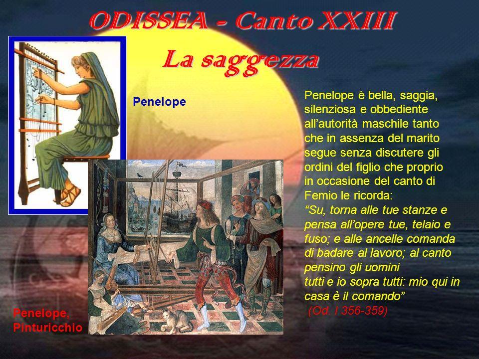 ODISSEA (canto XXIII) ODISSEA - Canto XXIII La saggezza Penelope è bella, saggia, silenziosa e obbediente allautorità maschile tanto che in assenza de