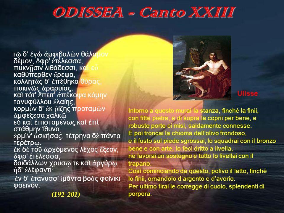 ODISSEA (canto XXIII) Il quieto e tranquillo trascorrere del tempo ad Itaca, in contrapposizione alle terribili ed esaltanti avventure del passato, delude e rattrista il malinconico re.