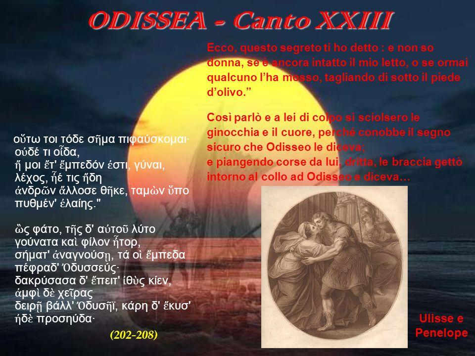 ODISSEA (canto XXIII) Dopo che i due sposi si sono ritrovati, pur con qualche esitazione, Odisseo rivela a Penelope quanto lindovino Tiresia gli ha profetizzato nellAde.