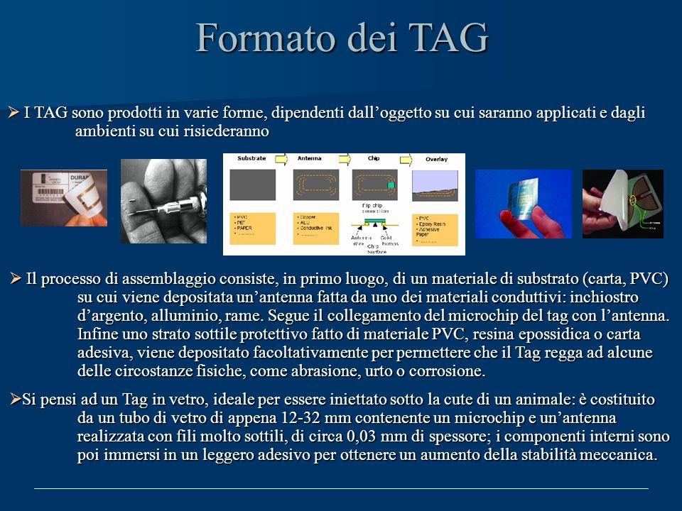 Formato dei TAG I TAG sono prodotti in varie forme, dipendenti dalloggetto su cui saranno applicati e dagli ambienti su cui risiederanno I TAG sono pr