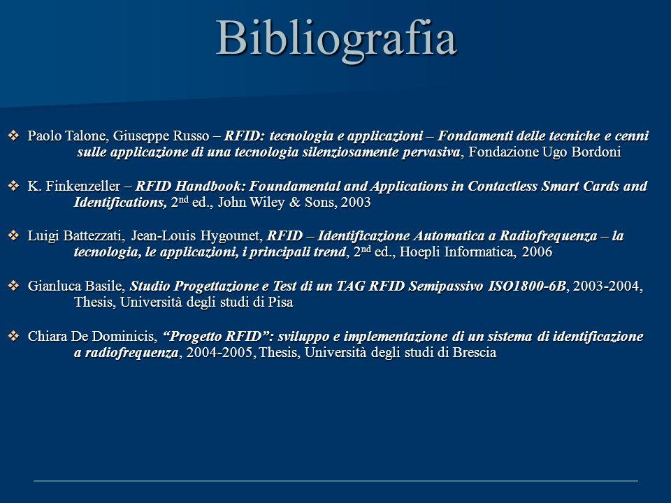 Bibliografia Paolo Talone, Giuseppe Russo – RFID: tecnologia e applicazioni – Fondamenti delle tecniche e cenni sulle applicazione di una tecnologia s