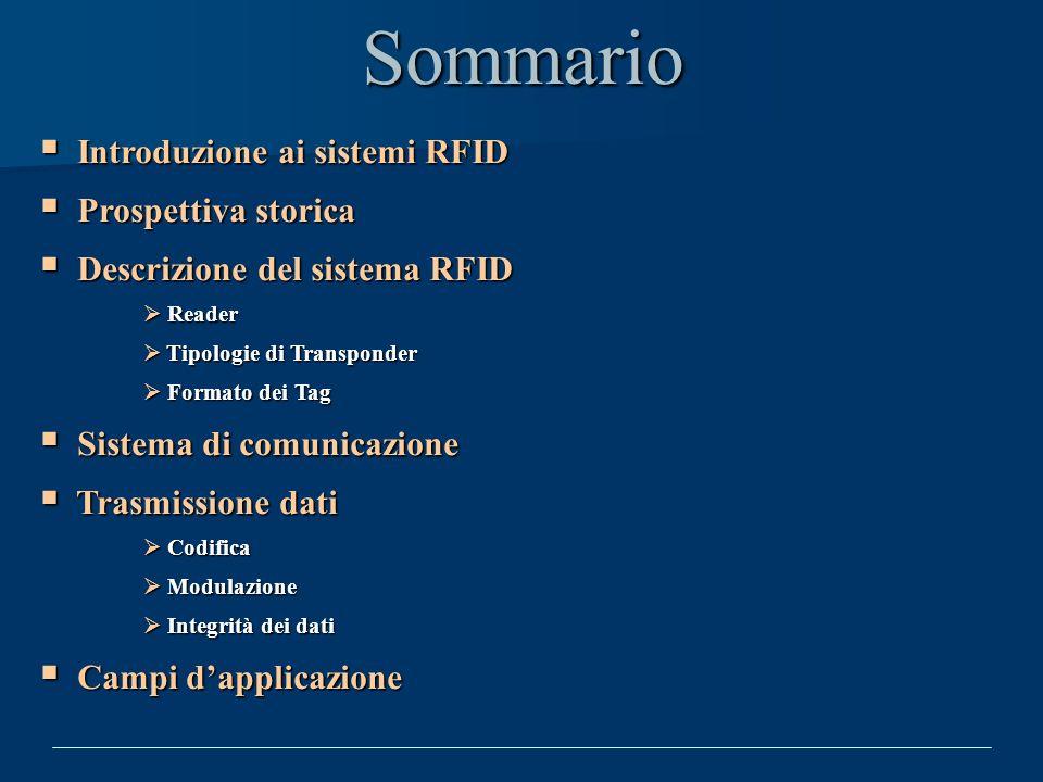 Sommario Introduzione ai sistemi RFID Introduzione ai sistemi RFID Prospettiva storica Prospettiva storica Descrizione del sistema RFID Descrizione de