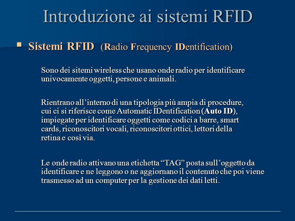 Introduzione ai sistemi RFID Sistemi RFID (Radio Frequency IDentification) Sistemi RFID (Radio Frequency IDentification) Sono dei sitemi wireless che