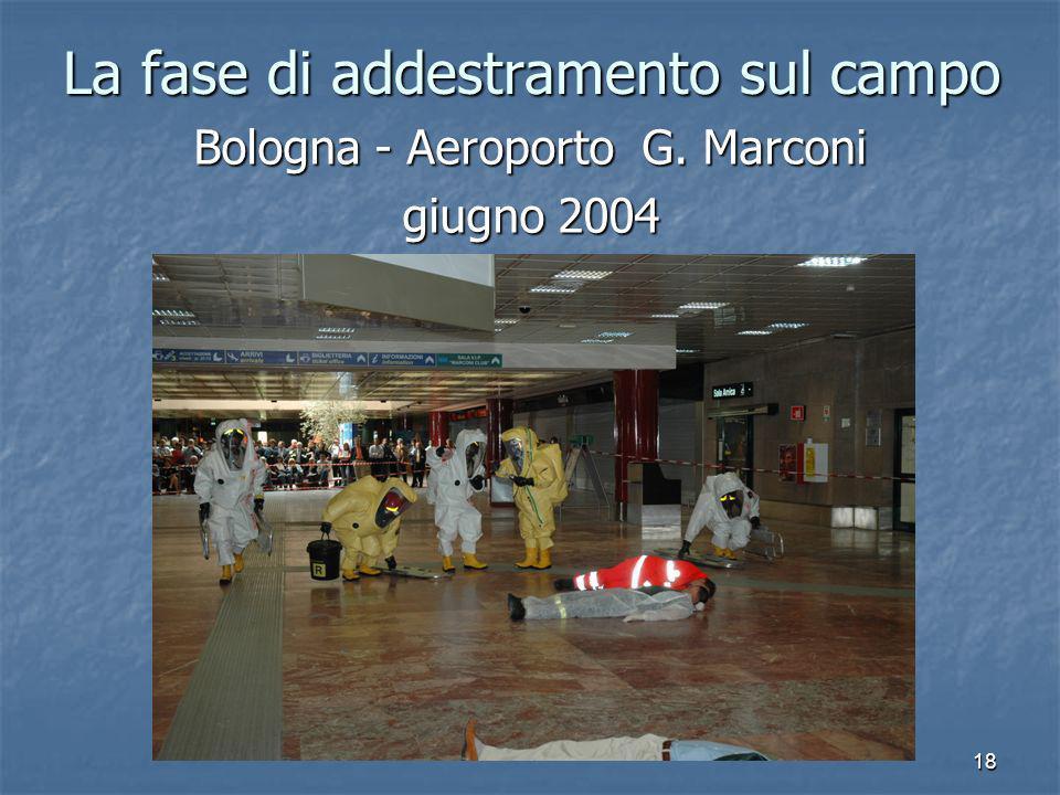 18 La fase di addestramento sul campo Bologna - Aeroporto G. Marconi giugno 2004