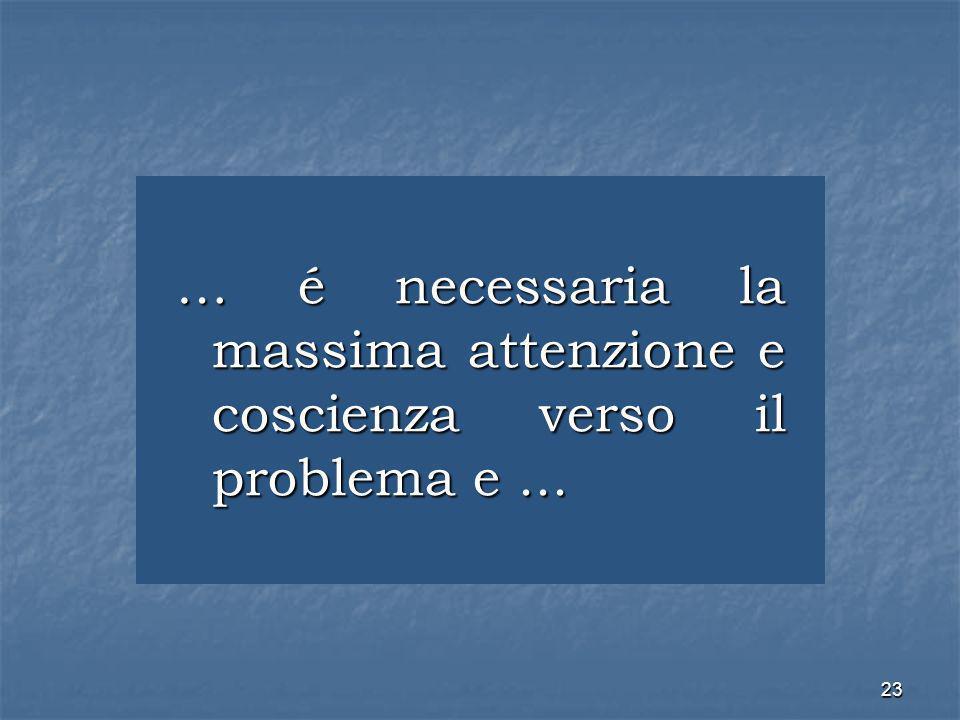 23 … é necessaria la massima attenzione e coscienza verso il problema e...