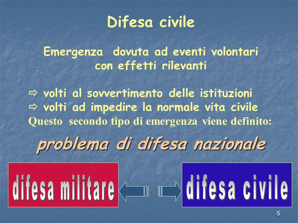 5 Difesa civile Emergenza dovuta ad eventi volontari con effetti rilevanti volti al sovvertimento delle istituzioni volti ad impedire la normale vita