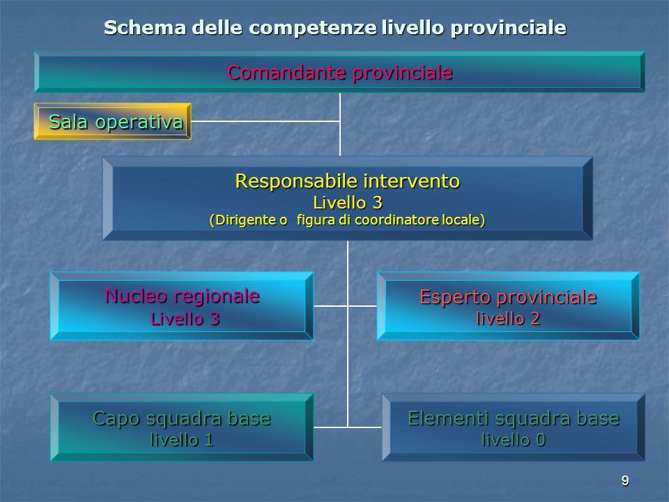 9 Schema delle competenze livello provinciale Comandante provinciale Responsabile intervento Livello 3 (Dirigente o figura di coordinatore locale) Nuc