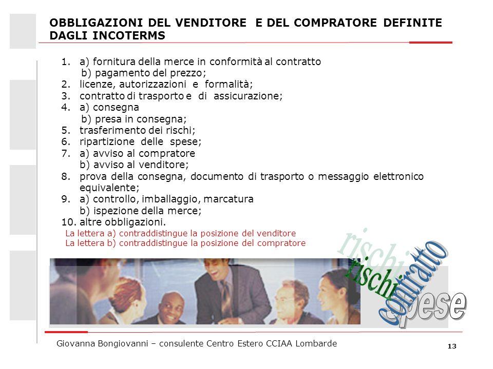 13 Giovanna Bongiovanni – consulente Centro Estero CCIAA Lombarde OBBLIGAZIONI DEL VENDITORE E DEL COMPRATORE DEFINITE DAGLI INCOTERMS 1.a) fornitura
