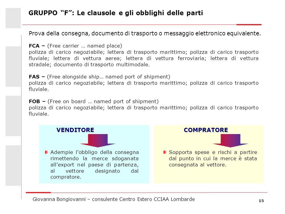 15 Giovanna Bongiovanni – consulente Centro Estero CCIAA Lombarde FCA – (Free carrier … named place) polizza di carico negoziabile; lettera di traspor