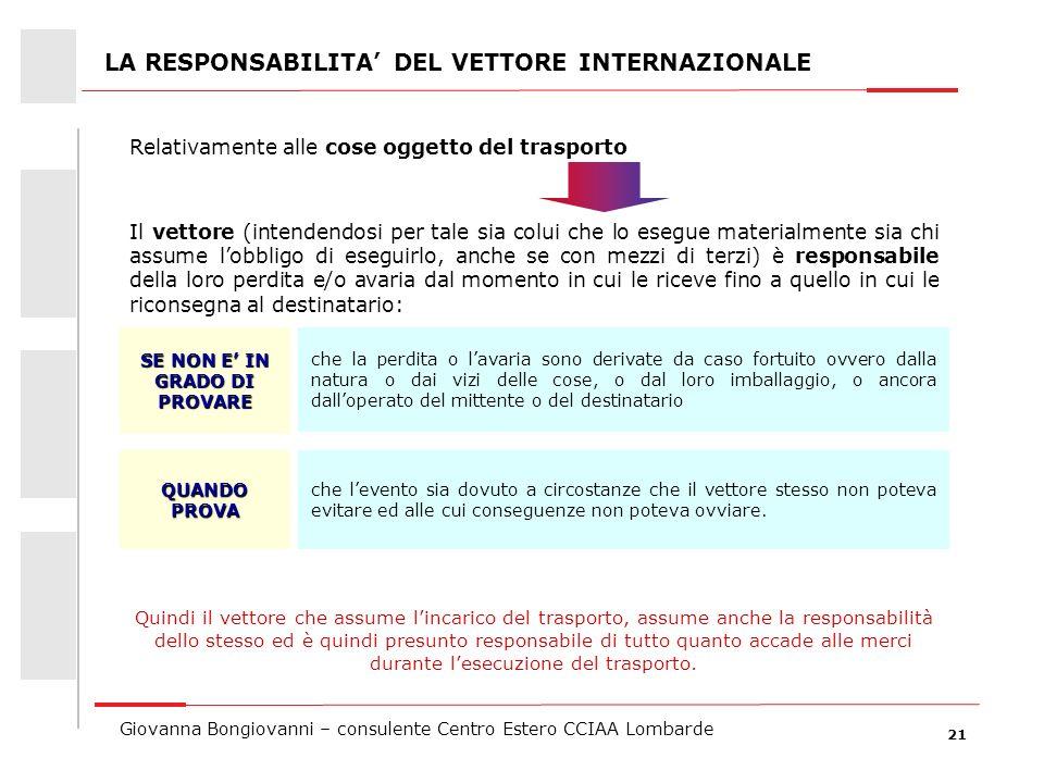 21 Giovanna Bongiovanni – consulente Centro Estero CCIAA Lombarde LA RESPONSABILITA DEL VETTORE INTERNAZIONALE che la perdita o lavaria sono derivate