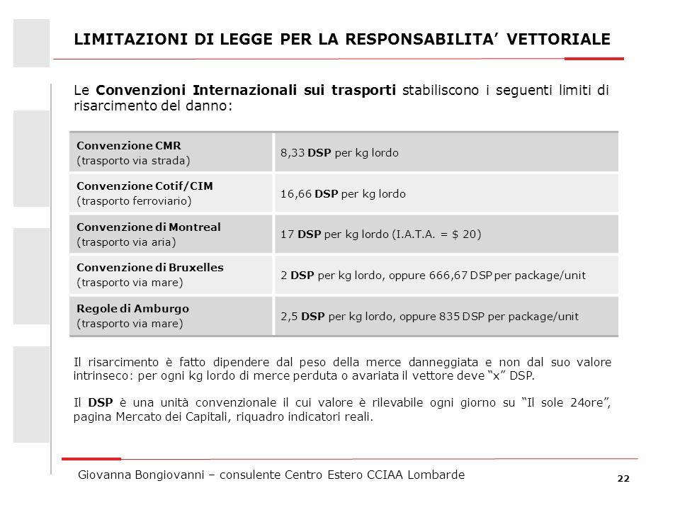 22 Giovanna Bongiovanni – consulente Centro Estero CCIAA Lombarde LIMITAZIONI DI LEGGE PER LA RESPONSABILITA VETTORIALE Le Convenzioni Internazionali