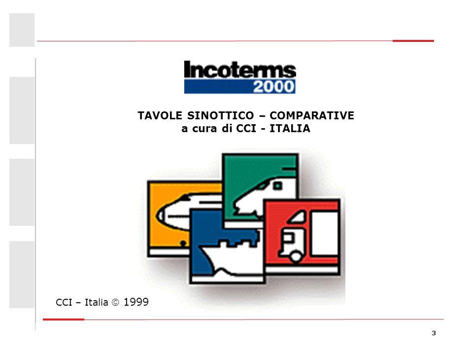 3 Giovanna Bongiovanni – consulente Centro Estero CCIAA Lombarde TAVOLE SINOTTICO – COMPARATIVE a cura di CCI - ITALIA CCI – Italia 1999