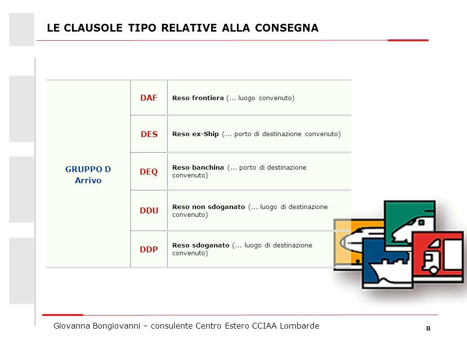 9 Giovanna Bongiovanni – consulente Centro Estero CCIAA Lombarde QUALSIASI MODO DI TRASPORTO Gruppo E EXW Franco fabbrica (..