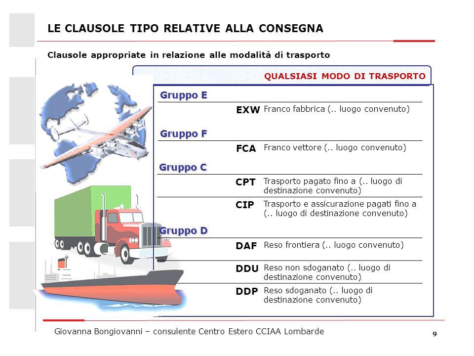 9 Giovanna Bongiovanni – consulente Centro Estero CCIAA Lombarde QUALSIASI MODO DI TRASPORTO Gruppo E EXW Franco fabbrica (.. luogo convenuto) Gruppo