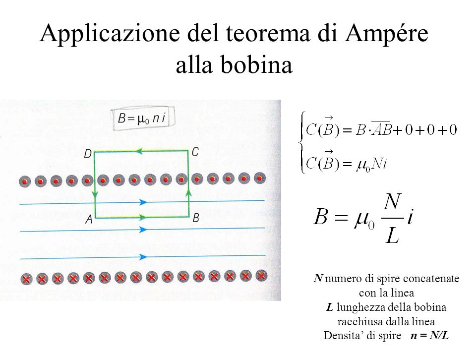 Applicazione del teorema di Ampére alla bobina N numero di spire concatenate con la linea L lunghezza della bobina racchiusa dalla linea Densita di spire n = N/L
