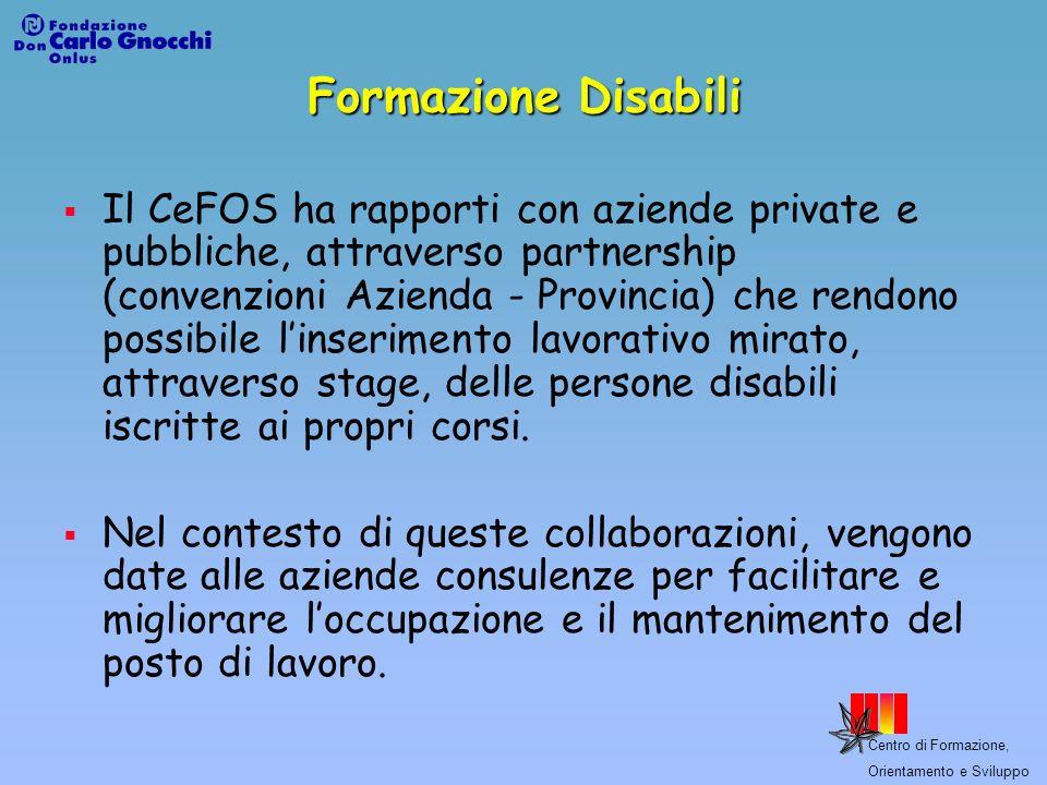 Centro di Formazione, Orientamento e Sviluppo Formazione Disabili Il CeFOS ha rapporti con aziende private e pubbliche, attraverso partnership (conven