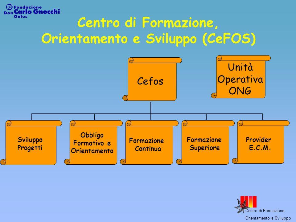 Centro di Formazione, Orientamento e Sviluppo Centro di Formazione, Orientamento e Sviluppo (CeFOS) Progettazione ed erogazione di servizi formativi nell ambito dell obbligo formativo, della formazione superiore e della formazione continua.