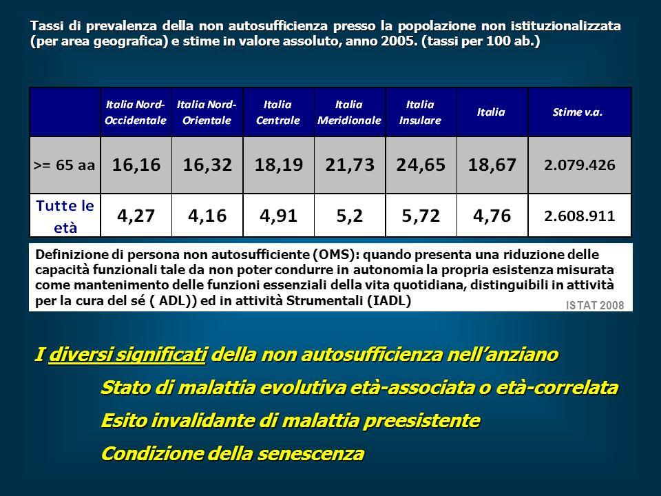 Tassi di prevalenza della non autosufficienza presso la popolazione non istituzionalizzata (per area geografica) e stime in valore assoluto, anno 2005.