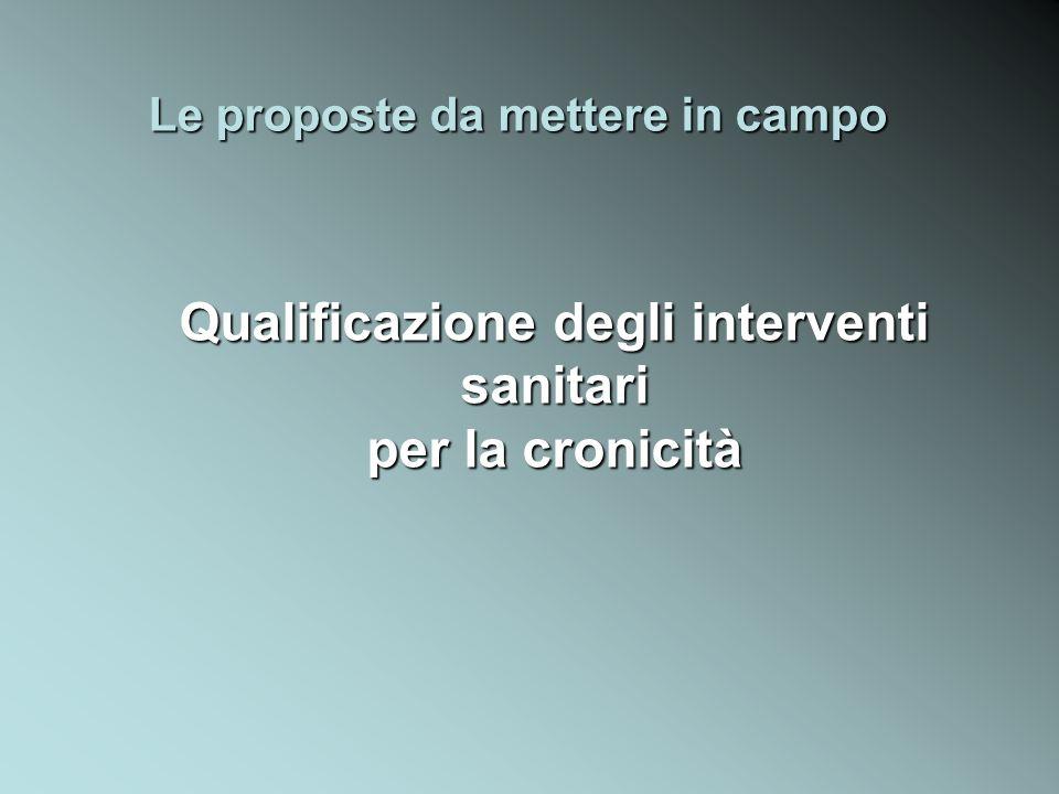 Le proposte da mettere in campo Qualificazione degli interventi sanitari per la cronicità
