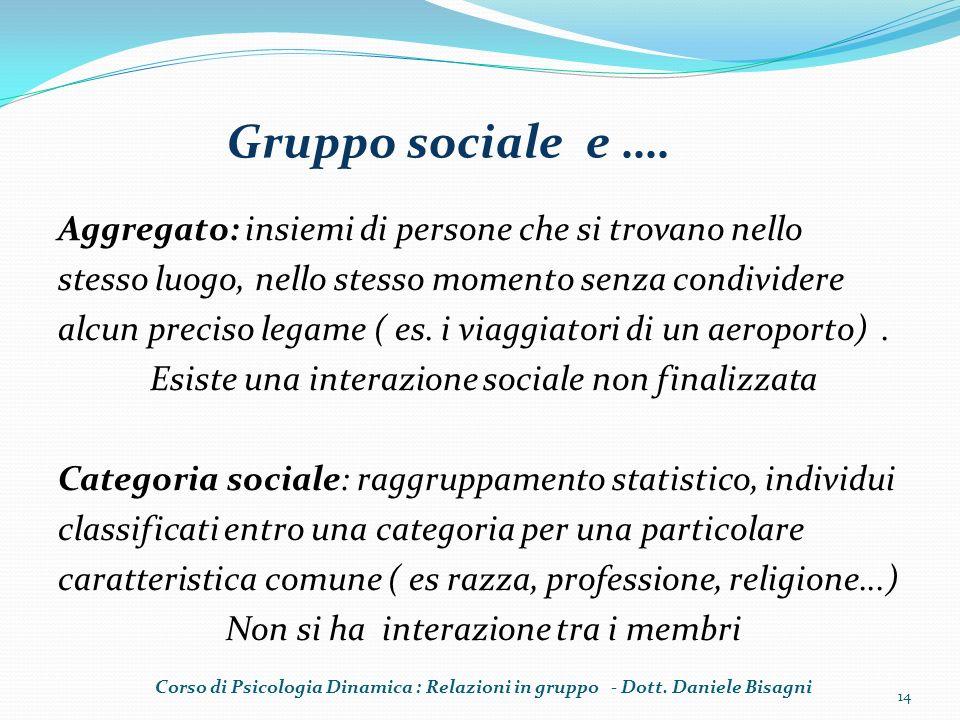 Gruppo sociale e …. Aggregato: insiemi di persone che si trovano nello stesso luogo, nello stesso momento senza condividere alcun preciso legame ( es.