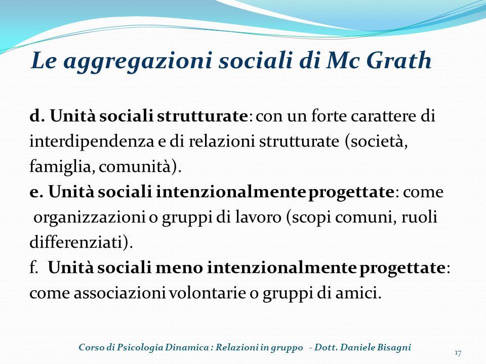 d. Unità sociali strutturate: con un forte carattere di interdipendenza e di relazioni strutturate (società, famiglia, comunità). e. Unità sociali int