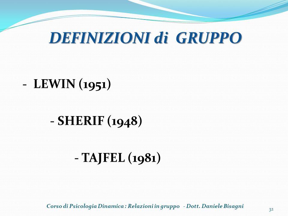 DEFINIZIONI di GRUPPO - LEWIN (1951) - SHERIF (1948) - TAJFEL (1981) Corso di Psicologia Dinamica : Relazioni in gruppo - Dott. Daniele Bisagni 32