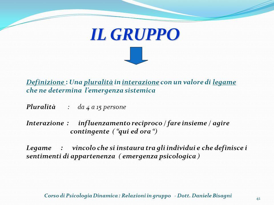 IL GRUPPO Definizione : Una pluralità in interazione con un valore di legame che ne determina lemergenza sistemica Pluralità : da 4 a 15 persone Inter