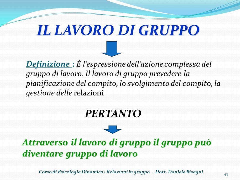 IL GRUPPO IL LAVORO DI GRUPPO Attraverso il lavoro di gruppo il gruppo può diventare gruppo di lavoro Definizione : È lespressione dellazione compless