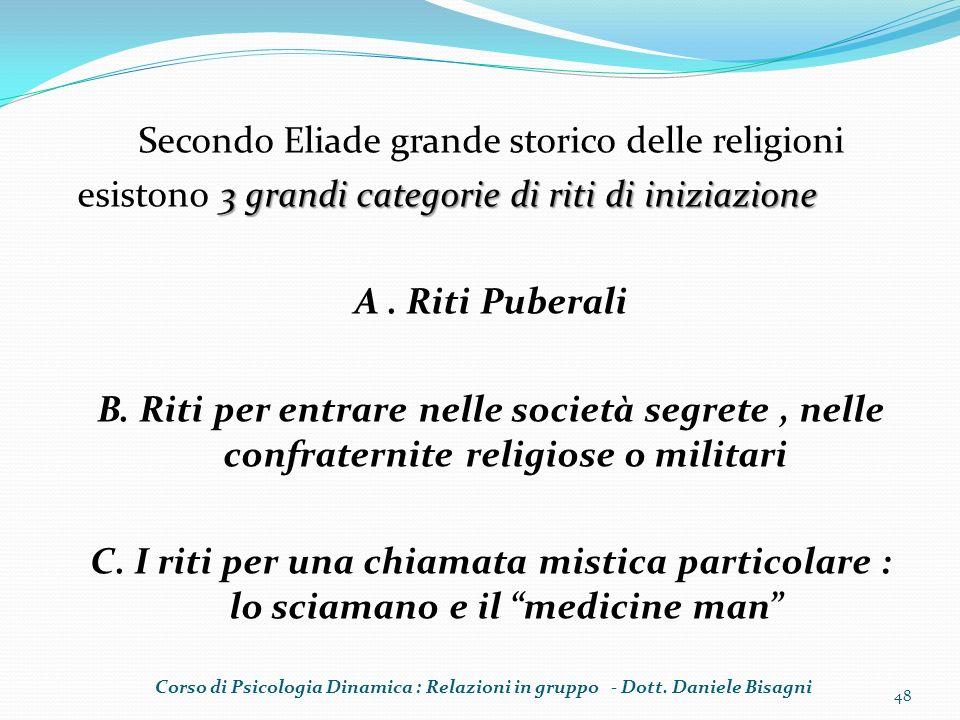 Secondo Eliade grande storico delle religioni 3 grandi categorie di riti di iniziazione esistono 3 grandi categorie di riti di iniziazione A. Riti Pub