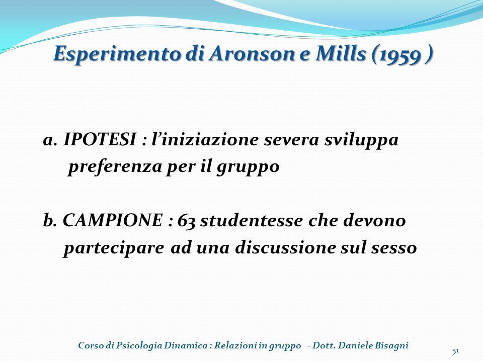 a. IPOTESI : liniziazione severa sviluppa preferenza per il gruppo b. CAMPIONE : 63 studentesse che devono partecipare ad una discussione sul sesso 51